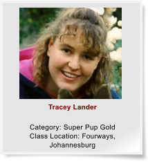 Tracey Lander  Category: Super Pup Gold Class Location: Fourways, Johannesburg
