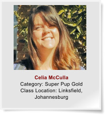 Celia McCulla Category: Super Pup Gold Class Location: Linksfield, Johannesburg